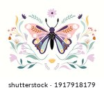 floral butterfly isolated on... | Shutterstock .eps vector #1917918179