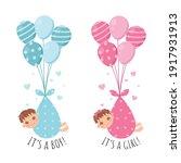 cute baby gender reveal. girl...   Shutterstock .eps vector #1917931913