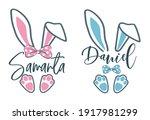 easter bunny name plate design. ... | Shutterstock .eps vector #1917981299