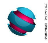sphere divided into 3 slices... | Shutterstock .eps vector #1917997463
