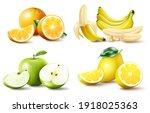 set of realistic juicy fruits... | Shutterstock .eps vector #1918025363