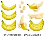 banana set. whole  half and...   Shutterstock .eps vector #1918025366