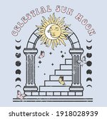 celestial sun and moon on arch...   Shutterstock .eps vector #1918028939