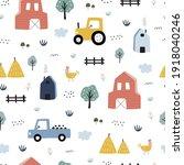 farm seamless pattern lovely... | Shutterstock .eps vector #1918040246