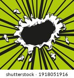 comic book hole. paper is torn...   Shutterstock . vector #1918051916