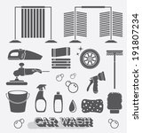vector set  car wash icons and... | Shutterstock .eps vector #191807234