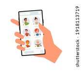 colorful hand with phone...   Shutterstock .eps vector #1918113719