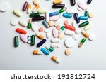 many colorful medicines. pills