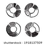 doodle hand drawn pie diagrams... | Shutterstock .eps vector #1918137509