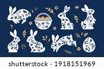 happy easter  bunnies  flowers... | Shutterstock .eps vector #1918151969