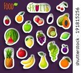 fresh natural fruit stickers... | Shutterstock . vector #191815256