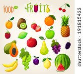 fresh natural fruit set with... | Shutterstock . vector #191815433
