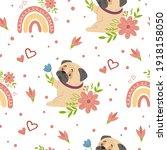 baby pugs kids seamless pattern ... | Shutterstock .eps vector #1918158050
