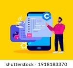 man programmer working on web... | Shutterstock .eps vector #1918183370