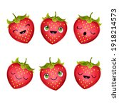 set of strawberry character... | Shutterstock . vector #1918214573