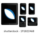 mobile devices with rugby ball... | Shutterstock . vector #191822468