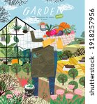 garden and gardener. vector... | Shutterstock .eps vector #1918257956