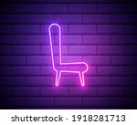 director's chair  neon  icon....