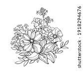 hand drawn  garden flowers...   Shutterstock .eps vector #1918294676