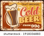 Cold Craft Beer Rusty Metal...