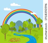 rainbow. background  with... | Shutterstock .eps vector #1918350596