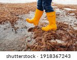 Kid In Rain Boots. Spring Walk. ...