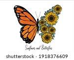 butterflies and daisy lettering ... | Shutterstock .eps vector #1918376609