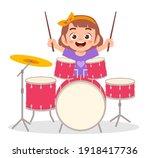 cute little girl play drum in... | Shutterstock .eps vector #1918417736