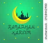 yellow star moon and mosque... | Shutterstock . vector #1918442900