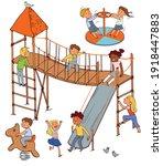 children in the playground.... | Shutterstock .eps vector #1918447883