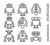 robot icon set line vector...   Shutterstock .eps vector #1918510160
