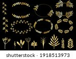 vintage set with gold wreaths...   Shutterstock .eps vector #1918513973