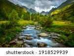 Mountain River Water Flowing...