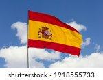 Spain Flag Isolated On The Blue ...