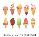 hand drawn ice cream vector... | Shutterstock .eps vector #1918585523