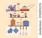 Kitchen Interior With Utensils...