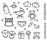 set of newborn baby doodle...   Shutterstock .eps vector #1918603496