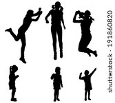 Vector silhouette of a woman with a child by practicing.