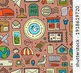 post office. seamless pattern... | Shutterstock .eps vector #1918619720