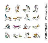 funny unicorns doing yoga.... | Shutterstock .eps vector #1918620563