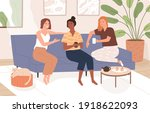 female friends sitting on comfy ... | Shutterstock .eps vector #1918622093