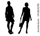 vector silhouette of a woman on ... | Shutterstock .eps vector #191863298