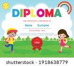certificates kindergarten and... | Shutterstock .eps vector #1918638779