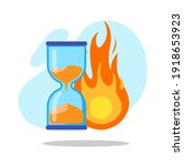 hourglass with fire for...