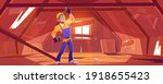 repairman on old attic with... | Shutterstock .eps vector #1918655423
