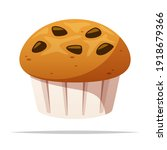 chocolate chips muffin vector... | Shutterstock .eps vector #1918679366