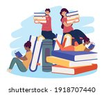 interracial four readers with... | Shutterstock .eps vector #1918707440