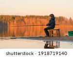 fishing. little boy with a... | Shutterstock . vector #1918719140