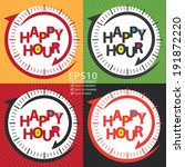 vector   colorful happy hour... | Shutterstock .eps vector #191872220