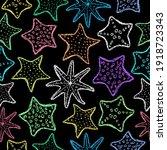 chalk starfish background.... | Shutterstock .eps vector #1918723343